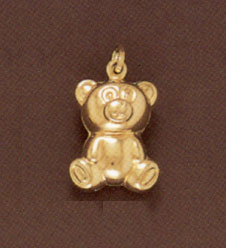 14K Gold Teddy Bear Pendant - Large
