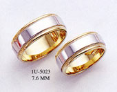 14K Gold Two-Tone Design Wedding Band Ring - 7.6mm