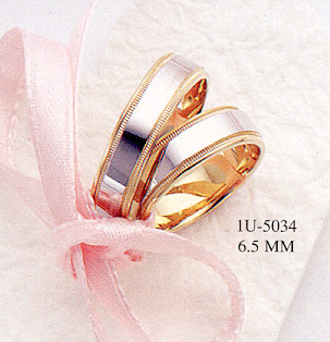 14K Gold Two-Tone Design Wedding Band Ring - 6.5mm