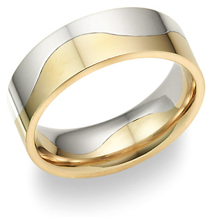 Two-Halves Love Wedding Band in Platinum and 18K Gold