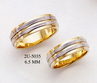 14K Gold TwoTone Designer Wedding Band Ring