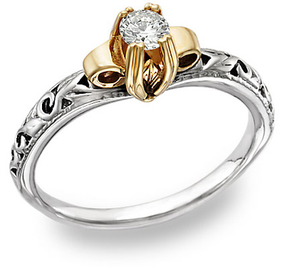 Vintage Style Jewelry, Retro Jewelry Art Deco 1 Carat CZ Ring 14K Two-Tone Gold $299.00 AT vintagedancer.com