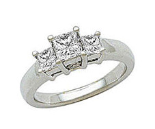 White Gold Three Stone 1/2 Carat Princess Cut Diamond Ring