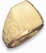 14K Gold Mens Engraveable Nugget Design Ring