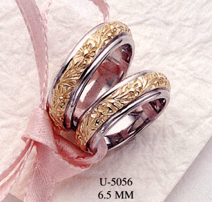 18K Two-Tone Gold Floral Design Wedding Band Ring