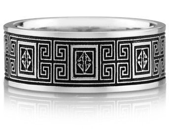 Celtic Maze Design Wedding Band Ring, 14K White Gold