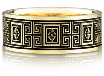 Celtic Maze Design Wedding Band Ring, 14K Gold