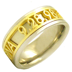 14k gold two tone personalized wedding band ring - Personalized Wedding Rings