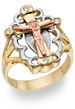14K Gold Tri-Color Crucifix Ring