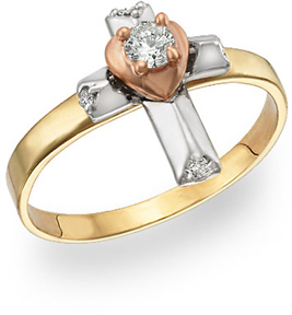 14K Gold Three-Tone Cross and Heart Ring