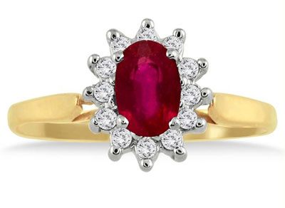 14K Gold Princess Di Ruby and Diamond Ring