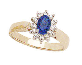 Buy 14K Gold Princess Di Sapphire and Diamond Ring