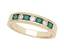 14K Gold Emerald and Diamond Stackable Channel Ring (Apples of Gold)