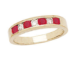 14K Gold Ruby and Diamond Stackable Channel