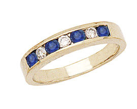 14K Gold Sapphire and Diamond Stackable Channel Ring
