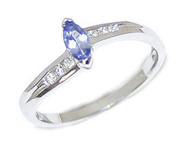 14K White Gold Marquise Tanzanite and Diamond Slender Wave Ring