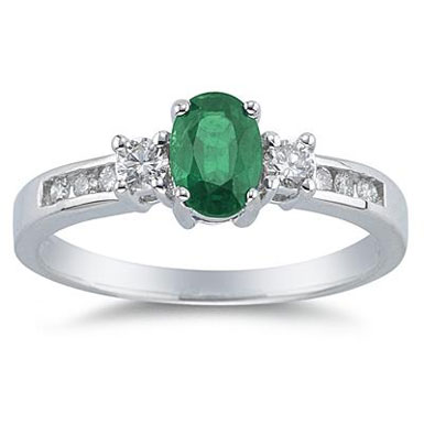 14K White Gold Emerald and Diamond Regal Channel Ring