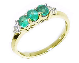 Buy 14K Gold Emerald Gemstone and Diamond Crown Ring