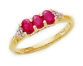 Buy 14K Gold Ruby Gemstone and Diamond Crown Ring