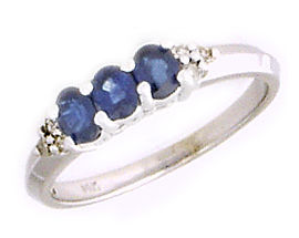 14K White Gold Sapphire Gemstone and Diamond Crown Ring (Apples of Gold)