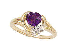 10K Gold Heart-shaped Amethyst & Diamond Heart Ring