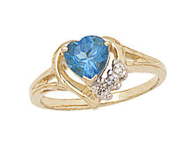 10K Gold Heart-shaped Blue Topaz & Diamond Heart Ring
