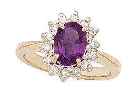 14K Gold Morning Glory Oval Amethyst & Diamond Ring