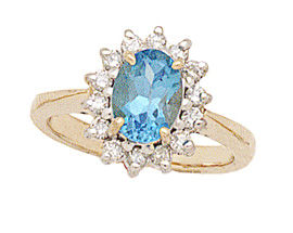 14K Gold Morning Glory Oval Blue-Topaz & Diamond Ring