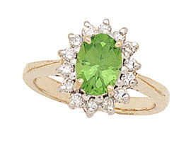 14K Gold Morning Glory Oval Peridot & Diamond Ring