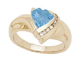 Buy 10K Gold Heart Shape Blue-Topaz and Diamond Ring