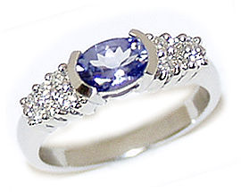 Buy 14K Solid White Gold Tanzanite and Diamond Half Bezel Ring