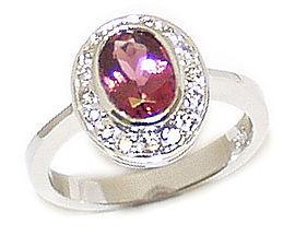 14K Gold Oval Pink Tourmaline and Diamond Splendor Ring