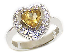 14K White Gold Citrine Gemstone and Diamond Heart Dazzle Ring