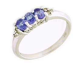 14K White Gold Tanzanite Gemstone and Diamond Crown Ring