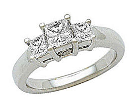 1 Carat Princess Cut Diamond Three-Stone Engagement Ring in 14K White Gold