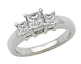 1 Carat Princess Cut Diamond Three-Stone Engagement Ring