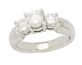 14K White Gold 1 Carat Three-Stone Diamond Ring