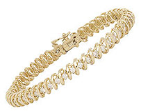 Flat Swirl Diamond Tennis Bracelet - 2.0 Carat Diamonds