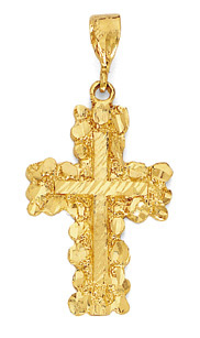 14K Solid Gold Nugget Cross Pendant