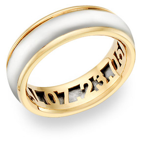 Buy 14K Two-Tone Gold Wedding Band Ring with Inlaid Personalization