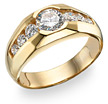 Men's 7 Stone CZ Ring, 14K Gold