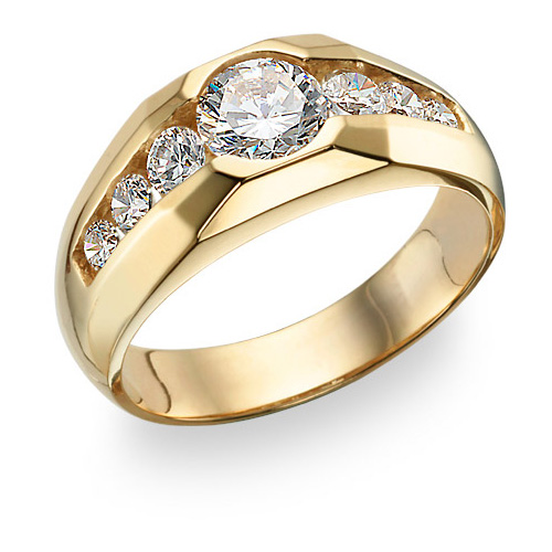 Men's 7 Stone CZ Ring, 14K Gold