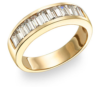 Men's Baguette CZ Ring, 14K Yellow Gold