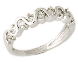10 Stone 1/2 Carat Diamond Wave Band in 14K White Gold (Wedding Rings, Apples of Gold)