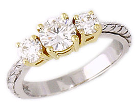 1 Carat Three Stone Engraved Diamond Ring