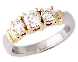 14K Two-Tone Gold 1/2 Carat Three Stone Diamond Ring