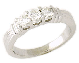 Buy 14K White Gold 1/2 Carat 3 Stone Ribbon Anniversary Ring