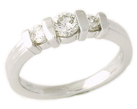 Buy 14K White Gold 1/2 Carat 3 Stone Diamond Ring