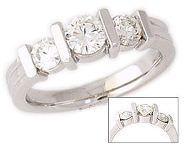 Buy 14K White Gold 1 Carat Three Stone Design Diamond Ring