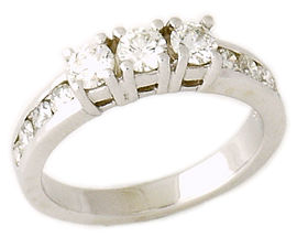 1 Carat Three-Stone Channel Diamond Ring (Apples of Gold)